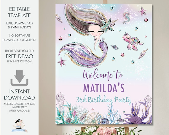 Mermaid Welcome Sign Editable Template Cute Mermaid Baby Shower Birthday Decor Printable Under The Sea Poster Diy Pdf Instant Download Mt2 By The Happy Cat Studio Catch My Party