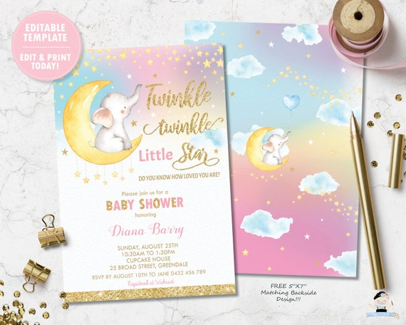 image regarding Free Printable Twinkle Twinkle Little Star Baby Shower Invitations known as Twinkle Twinkle Minor Star Kid Shower Invitation, Female