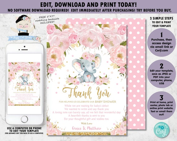 Corjl Template Girl Printable Pink Flowers Design BS164 Watercolor Elephant Butterfly Instant download EDITABLE Baby Shower Invitation