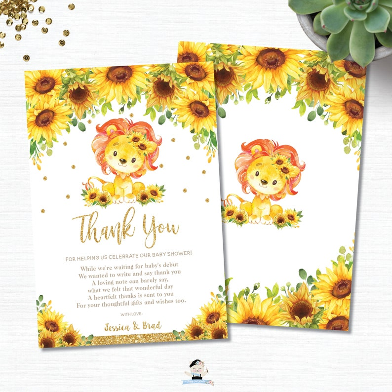 Lion Baby Shower 1st Birthday PDF Lion Sunflower Thank You Card EDITABLE TEMPLATE LN1 Yellow Floral Sunflower Rustic Instant Download