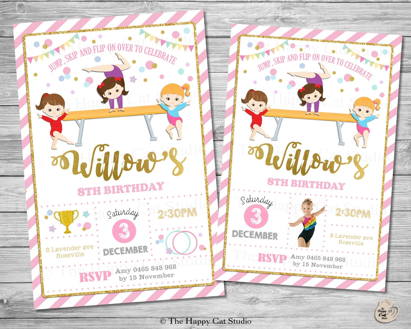 Gymnastics Invitation Personalized Printable Birthday | Etsy