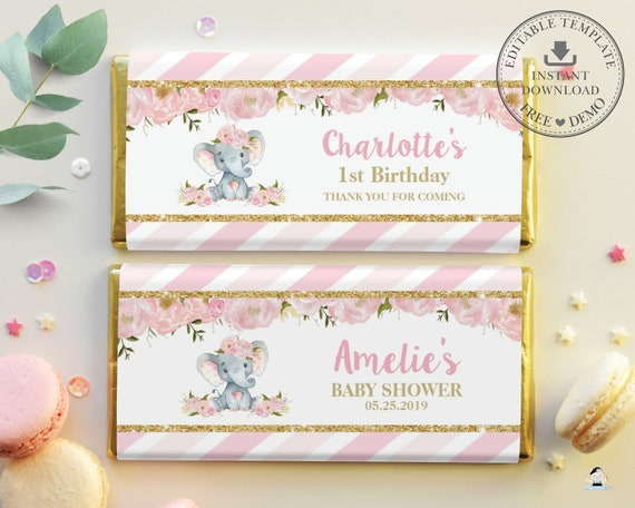 personalised chocolate wrappers party bag favours favors ELEPHANT 1ST BIRTHDAY
