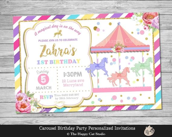 Invitación Fiesta Carrusel Personalizada Para Imprimir Cualquier Edad Partido Cumpleaños Invita Archivo De Descarga De Impresión Digital
