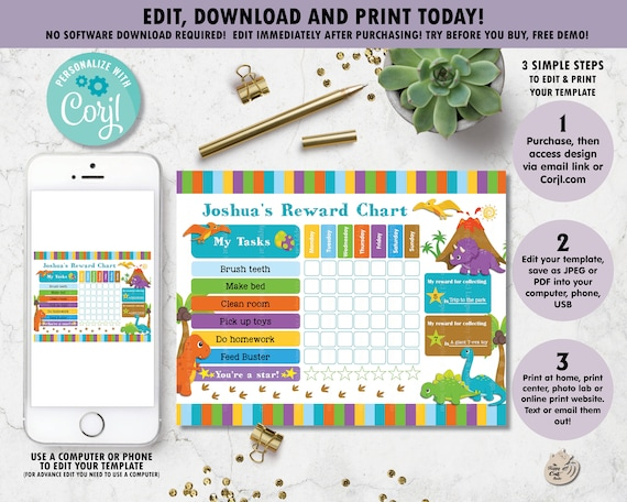 Editable Template Dinosaur Reward Chart Dinosaur Digital Printable Chore Potty Training Behaviour Chart Kids