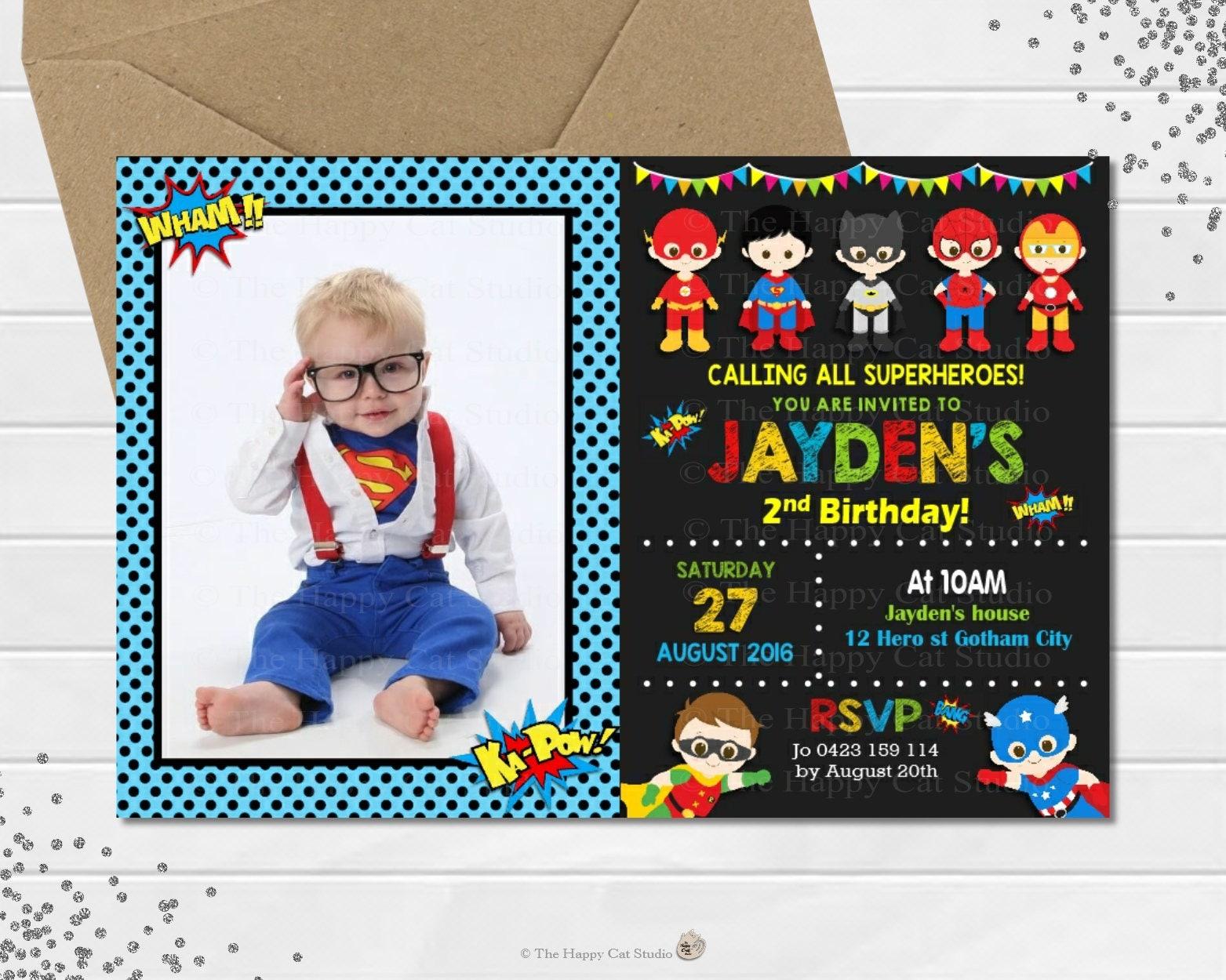invites Boys Girls Kids 12 Superhero Personalised Party Birthday Invitations