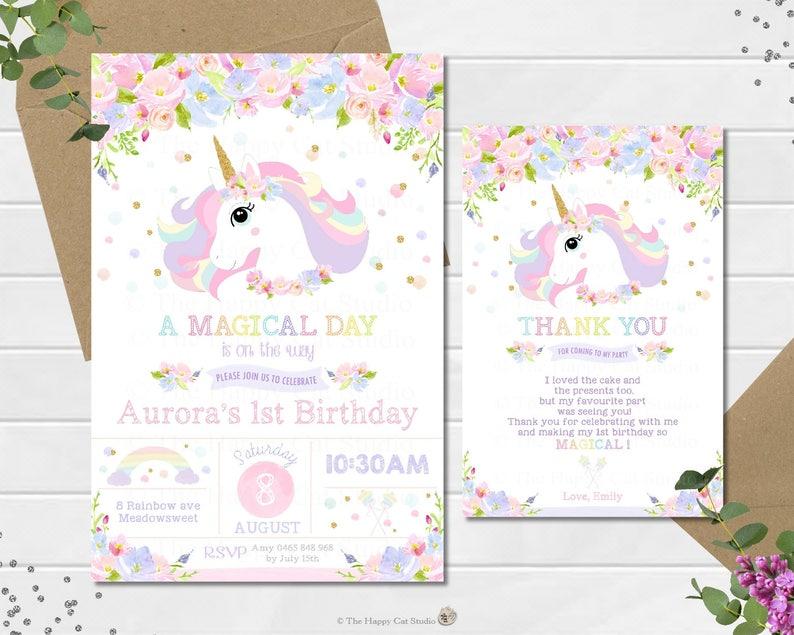 Unicorn Invitation Thank You Note 1st Birthday Party