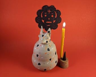 Pet Urn Confetti - Ceramic Xolo (Mexican hairless dog) - Dia de los Muertos - Animal Xoloitzcuintli