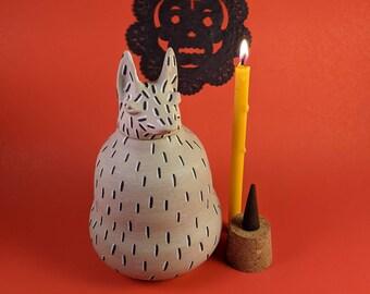 Pet Urn Fluffy - Ceramic Xolo (Mexican hairless dog) - Dia de los Muertos - Animal Xoloitzcuintli