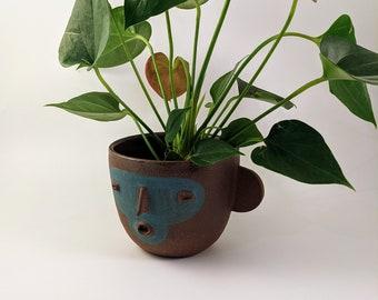 Ceramic luchadora planter. Mexican Wrestler Planter. Folk Art Masks.