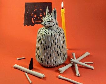 Pet Urn Fluffy II - Ceramic Xolo (Mexican hairless dog) - Dia de los Muertos - Animal Xoloitzcuintli