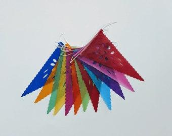 Mini Mini Flowers Papel Picado | Day of the Dead Decorations| Mexican Día de los Muertos Banner | Perforated Paper