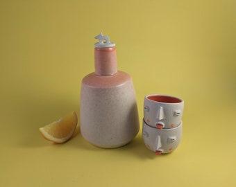 Perrito mezcalera set. Sake   Tequila. Mexican contemporary ceramics. Shot glasses. Folk Art Mexico.