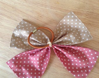 Pink and beige large hair bow