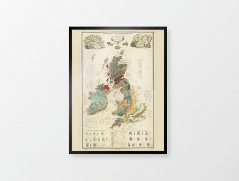 Map Of Just England.Antique Map Of Great Britain 1848 Scotland Map England Old Map Historical Decor Geological Palaeontological Map Of British Islands Uk