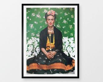 "Frida Kahlo Print | Giclée Fine Art Print | Long lasting print portrait of the artist Frida Kahlo, Karlo, Freda Karlo, 8x10"" A2 Frame Size"