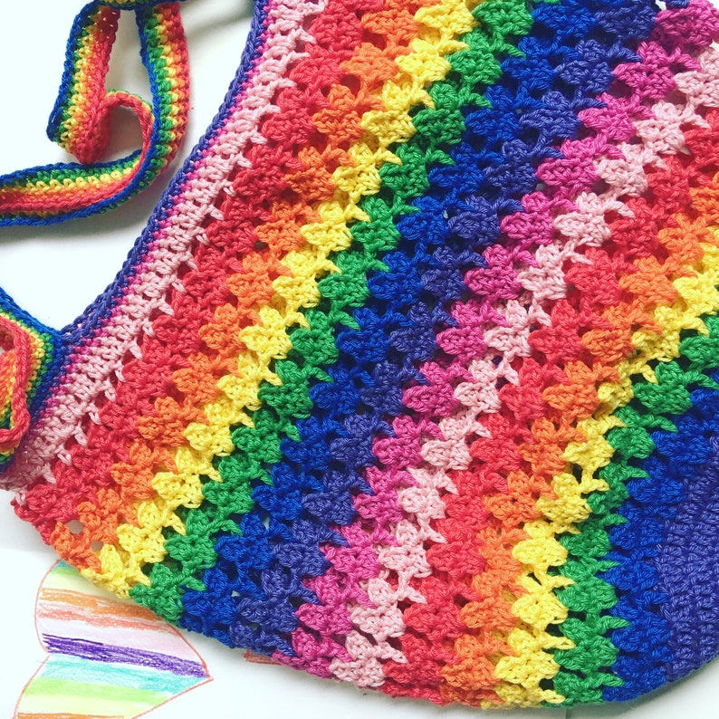 Rainbow Hearts market bag  crochet pattern image 0