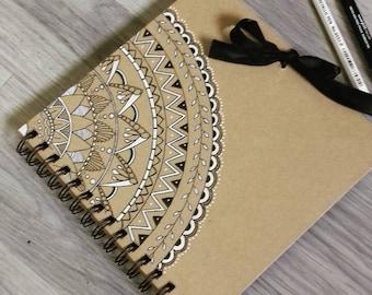 Wedding scrapbook album,  wedding memories keepsake, wedding guest book, rustic wedding stationery, wedding photo album, mandala scrapbook