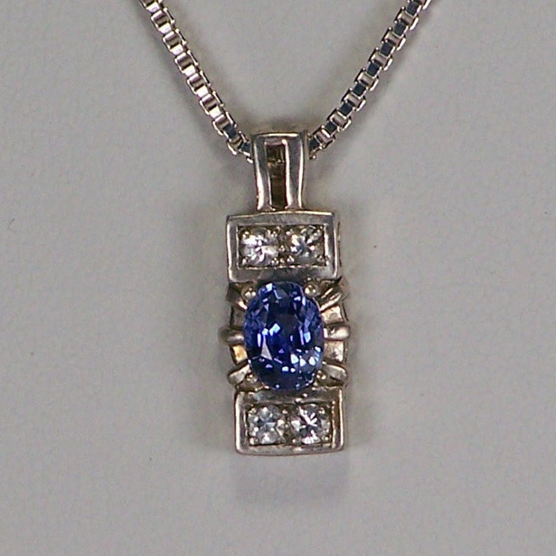 1.32ct 7.03 by 5.18mm PRICE REDUCED Blue Sapphire Sterling Silver Pendant Chain Ladies Natural Gemstone Birthstone Necklace Jewelry Gift
