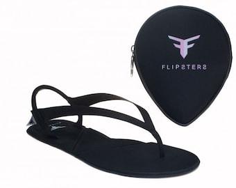 Foldable flip flops - black flip flop, women flip flop, beach sandals, wedding shoes, bridesmaid gift ideas, gift for women, gift for her