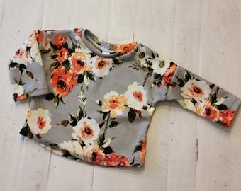 FW20-01-275 / BLACK FLORAL / crew neck flower / nylon CREWNECK / slouchytee / assorted tee / tee for babies and kids / little joy