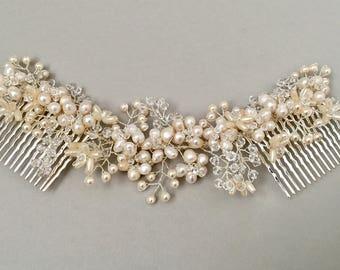 ROSALINE   Bridal freshwater pearl headpiece, wedding pearl hair comb, Pearl and crystal bridal headdress