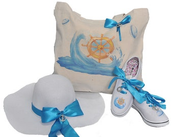 Beach hat, hat for sea, hat with a blue ribbon, hat with a brim, hat with anchor, sun hat, big hat