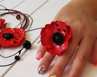 Poppies ring, poppy ring, flowers ring, poppies jewelry, polymer clay ring, flowers jewelry, poppies ring,red ring, art ring, gift for mom