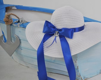 Beach hat, hat for sea, hat with blue ribbon, hat with a brim, hat with anchor, sun hat, big hat, hat with metal anchor, hat  big ribbon