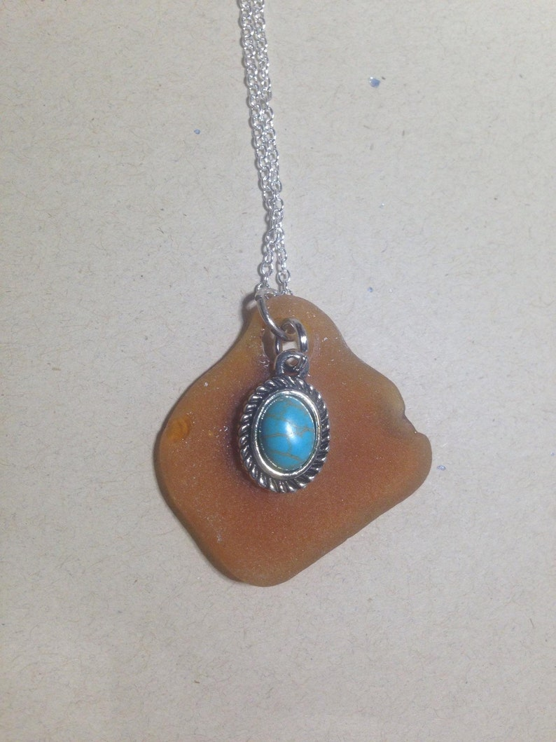 Sea Glass with turquoise Necklace