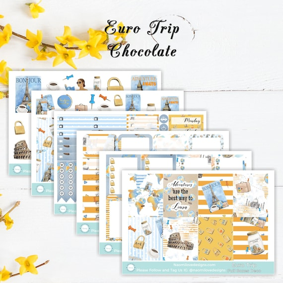 euro trip planner stickers single sheets or full kit etsy