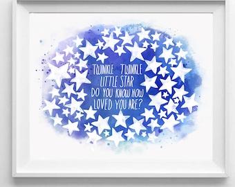 Twinkle Little Star Fingerprint Guestbook, To the Moon, Nursery Wall Art, Baby Room, Gender Neutral, Babyshower, Download, Watercolor, Print