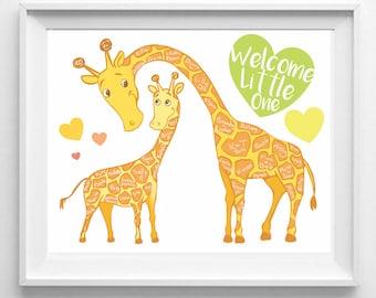 Baby Giraffe Fingerprint Guestbook, Baby Shower, Unisex, Jungle Theme, Wall Art, Nursery Decor, Wall Print, Illustration, Baby Animal, Cute