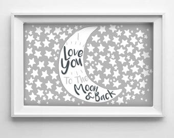Moon and Back Baby Shower Fingerprint Guestbook, Nursery Decor, Wall Art, Baby Room, Stars, Printable, Download, Illustration, Gray, Neutral
