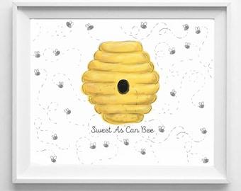 Baby Shower Fingerprint Guestbook Bumble Bee, Baby Girl, Baby Boy, Yellow, Bee, Honey, Sweet, Baby Shower, Wall Decor, Nursery Decor, Unisex