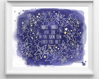 Baby Shower Fingerprint Guestbook, Twinkle Twinkle Little Star, Wall Print, Nursery Decor, Unisex, Baby Room, Universe, Space, Shooting Star