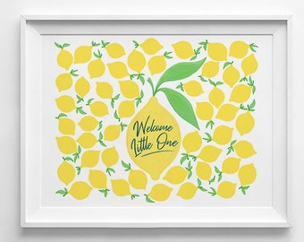 Baby Shower Lemon Guestbook,babyroom, fingerpint, nursery decor, wall art, gender neutral, yellow, citrus, boy, girl, illustration, party