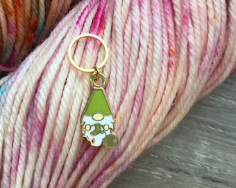 lucky gnome miniature custom personalized color cute gift for yarn lover cute stitch marker cute gnome knitting accessory gift for mom