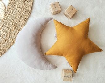 Nursery Decor Pillow Set, Gray Moon and Ochre Star Pillow, Star Cushion, Moon Cushion, kids pillow set,Kids Room Decor,Toddler pillow set