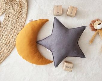 Nursery Decor Pillow Set, Ochre Moon & Dark Gray Star Pillow, Star Cushion, Moon Cushion, kids pillow set,Kids Room Decor,Toddler pillow set