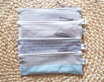 Gray Reusable Snack Bag, Reusable Zipper Snack pouch, Reusable Zipper Straw Cutlery Pouch, Straw Case, Utensil Case, Pencil Case, Zero Waste