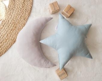 Nursery Decor Pillow Set, Gray Moon and Blue Star Pillow, Star Cushion, Moon Cushion, kids pillow set,Kids Room Decor,Toddler pillow set