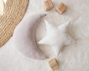 Nursery Decor Pillow Set, Gray Moon and White Star Pillow, Star Cushion, Moon Cushion, kids pillow set,Kids Room Decor,Toddler pillow set