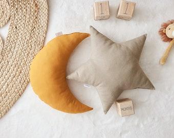 Nursery Decor Pillow Set, Ochre Moon & Khaki Star Pillow, Star Cushion, Moon Cushion, kids pillow set,Kids Room Decor,Toddler pillow set