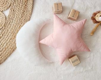Nursery Decor Pillow Set, White Moon and Pink Star Pillow, Star Cushion, Moon Cushion, kids pillow set,Kids Room Decor,Toddler pillow set