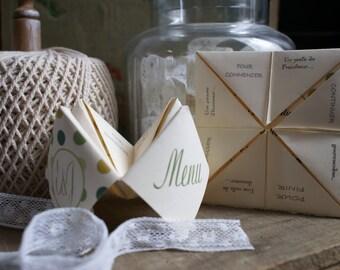 Wedding menu so origami paper birds
