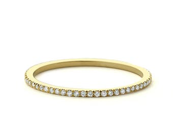 Diamond Eternity Ring/ Diamond Eternity Wedding Band/ 14k Gold Thin Diamond Wedding Band/ Micro Pave Thin Diamond Eternity Band in 14k Gold/