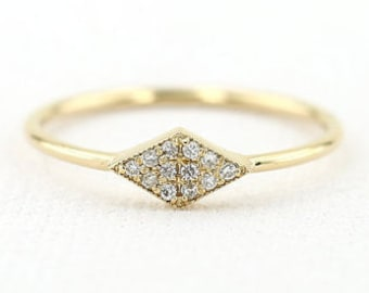 14K Micro Pave Diamond Ring/ Trendy White Diamond Ring Gift for Her/ Dainty Diamond Ring / Mothers Day Gift