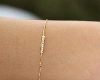 Diamond Bar Bracelet/ 14k Solid Gold Diamond Bar Bracelet/ Pave Bracelet/ Dainty Diamond Bracelet/ Diamond Graduation Gift