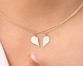 Best Friend Necklace / BFF Necklace / 14k Solid Gold Heart Necklace / Set of 2 Best Friend Necklace / Love Necklace / Sister Necklace