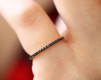 Black Diamond Eternity Band - Micro Pave Band Available as 14k Rose Gold, White Gold or Yellow Gold 1MM Ring
